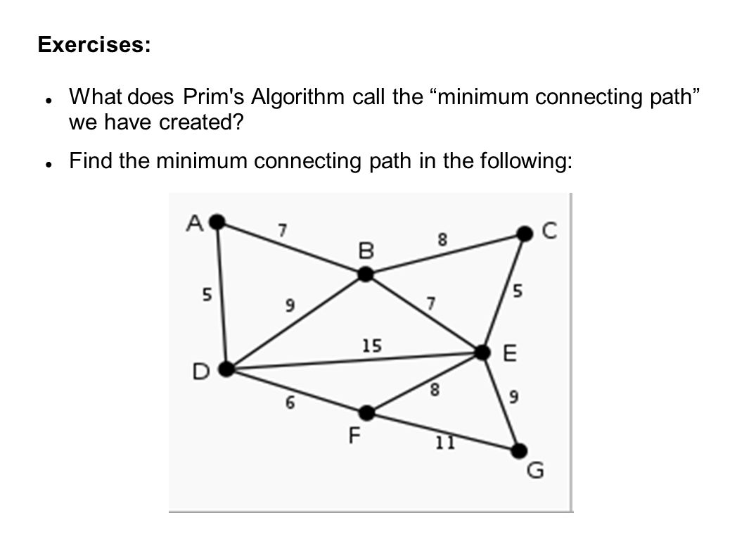 Exercises: What does Prim s Algorithm call the minimum connecting path we have created.