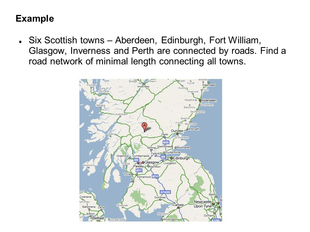 Example Six Scottish towns – Aberdeen, Edinburgh, Fort William, Glasgow, Inverness and Perth are connected by roads.