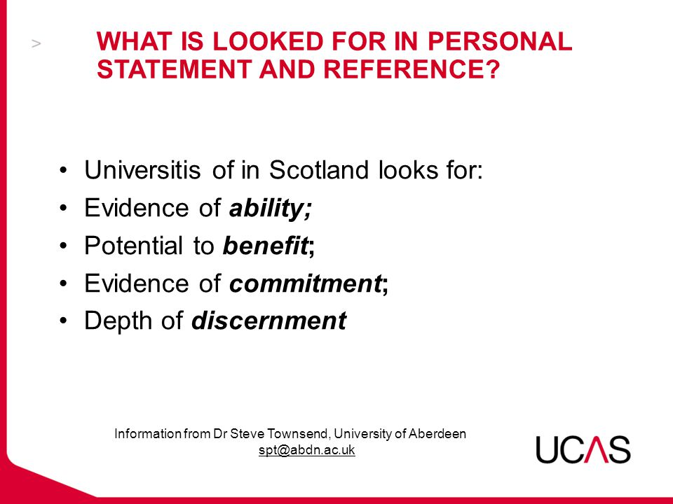 WHAT IS LOOKED FOR IN PERSONAL STATEMENT AND REFERENCE.