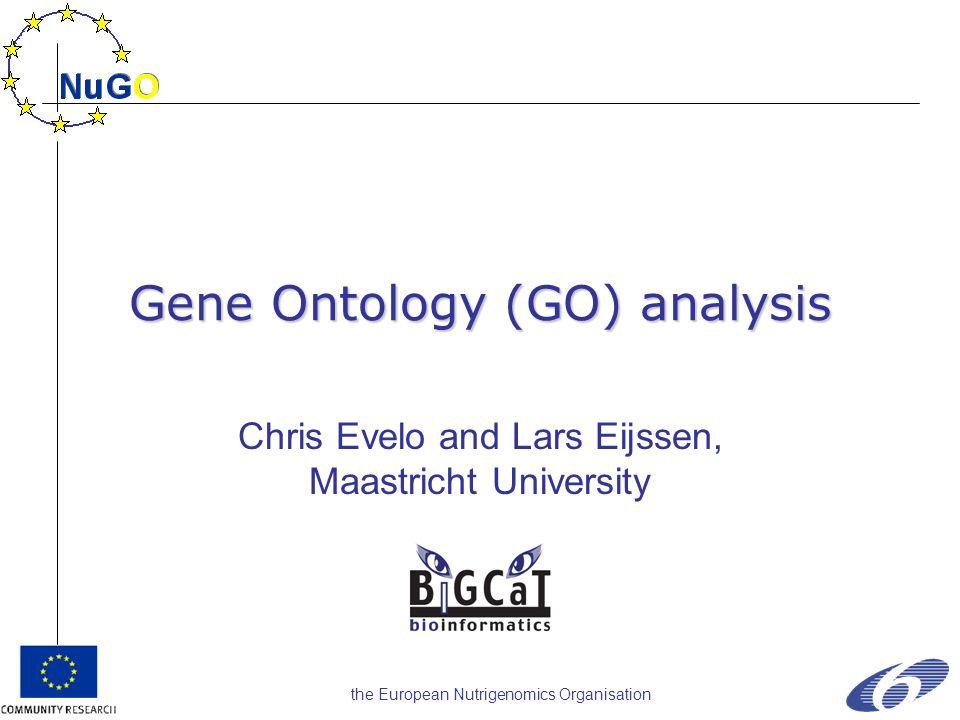 the European Nutrigenomics Organisation Gene Ontology (GO) analysis Chris Evelo and Lars Eijssen, Maastricht University