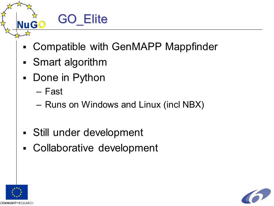 GO_Elite  Compatible with GenMAPP Mappfinder  Smart algorithm  Done in Python –Fast –Runs on Windows and Linux (incl NBX)  Still under development