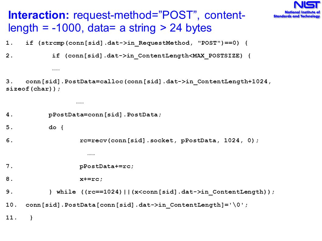 """Interaction: request-method=""""POST"""", content- length = -1000, data= a string > 24 bytes 1. if (strcmp(conn[sid].dat->in_RequestMethod,"""
