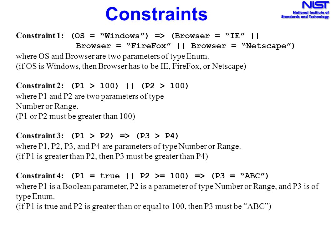 """Constraints Constraint 1: (OS = """"Windows"""") => (Browser = """"IE"""" 