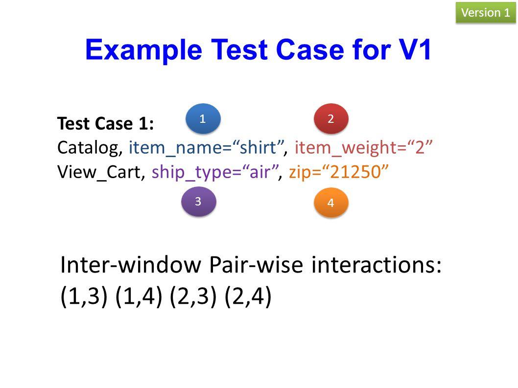 "Test Case 1: Catalog, item_name=""shirt"", item_weight=""2"" View_Cart, ship_type=""air"", zip=""21250"" Inter-window Pair-wise interactions: (1,3) (1,4) (2,3"