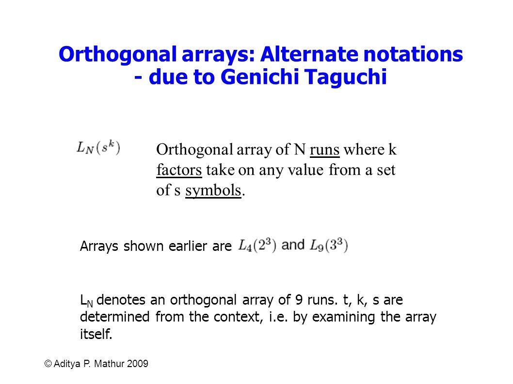 © Aditya P. Mathur 2009 Orthogonal arrays: Alternate notations - due to Genichi Taguchi Orthogonal array of N runs where k factors take on any value f
