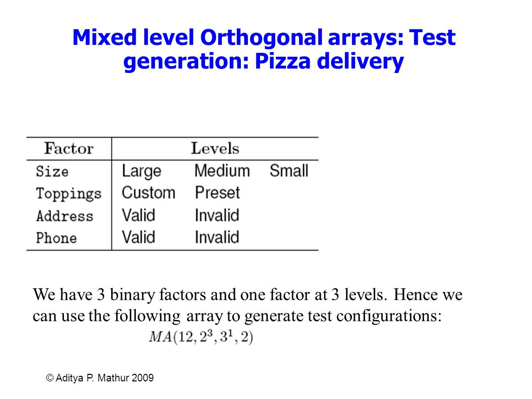 © Aditya P. Mathur 2009 Mixed level Orthogonal arrays: Test generation: Pizza delivery We have 3 binary factors and one factor at 3 levels. Hence we c