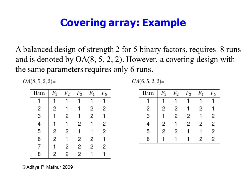 © Aditya P. Mathur 2009 Covering array: Example A balanced design of strength 2 for 5 binary factors, requires 8 runs and is denoted by OA(8, 5, 2, 2)
