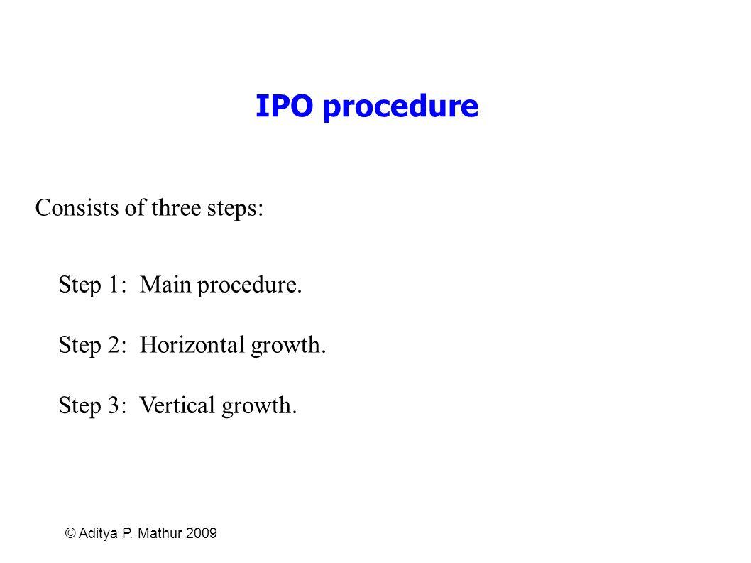 © Aditya P. Mathur 2009 IPO procedure Consists of three steps: Step 1: Main procedure. Step 2: Horizontal growth. Step 3: Vertical growth.