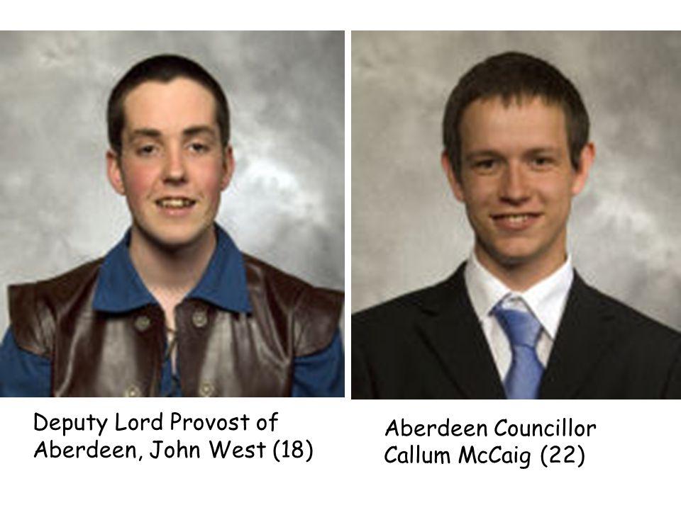Deputy Lord Provost of Aberdeen, John West (18) Aberdeen Councillor Callum McCaig (22)