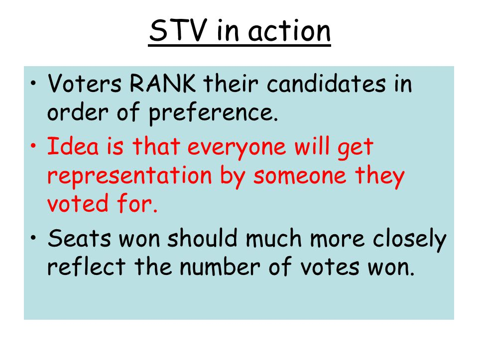 STV in action Voters RANK their candidates in order of preference.
