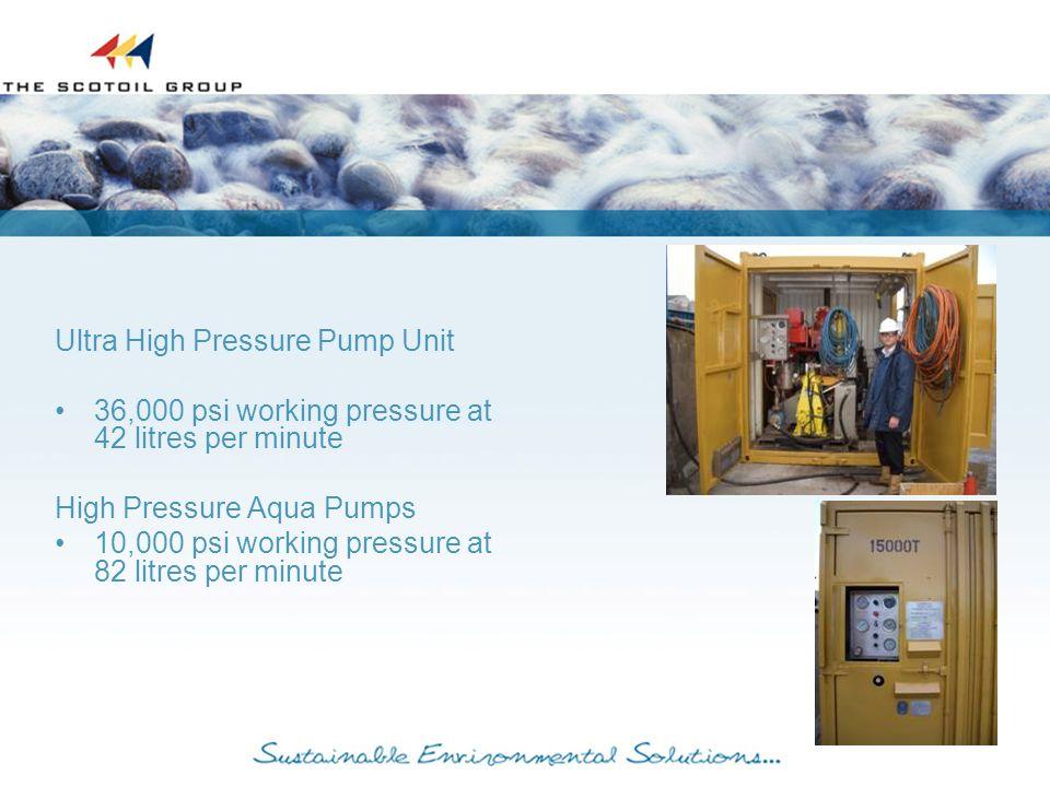 Ultra High Pressure Pump Unit 36,000 psi working pressure at 42 litres per minute High Pressure Aqua Pumps 10,000 psi working pressure at 82 litres per minute