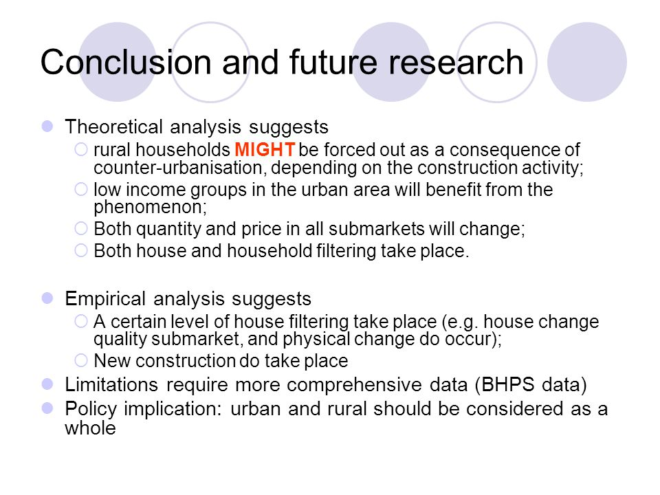 Conclusion and future research Theoretical analysis suggests  rural households MIGHT be forced out as a consequence of counter-urbanisation, depending on the construction activity;  low income groups in the urban area will benefit from the phenomenon;  Both quantity and price in all submarkets will change;  Both house and household filtering take place.