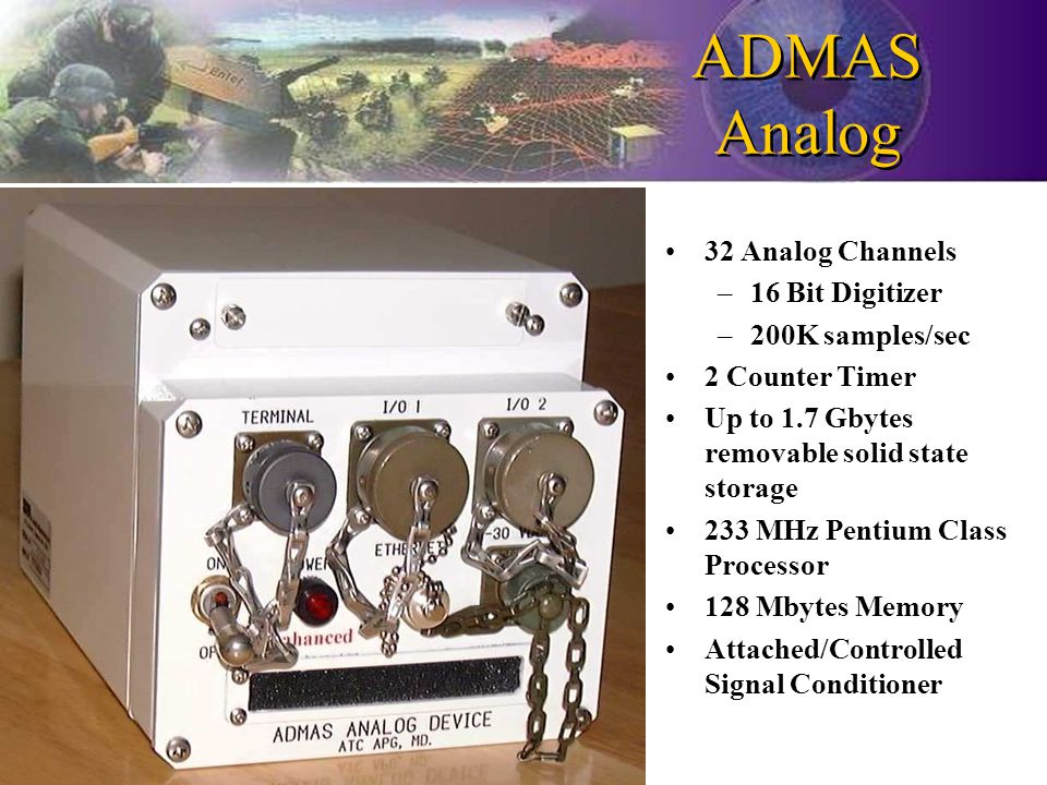 ADMAS Analog 32 Analog Channels –16 Bit Digitizer –200K samples/sec 2 Counter Timer Up to 1.7 Gbytes removable solid state storage 233 MHz Pentium Class Processor 128 Mbytes Memory Attached/Controlled Signal Conditioner