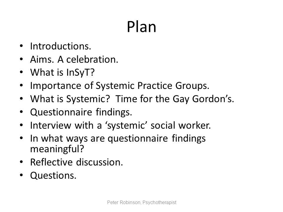 Peter Robinson, Psychotherapist, InSyT Q.