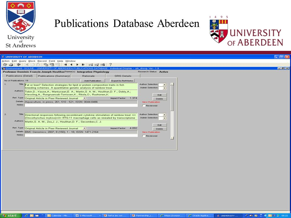 EuroCRIS 12 th November 2009 Publications Database Aberdeen