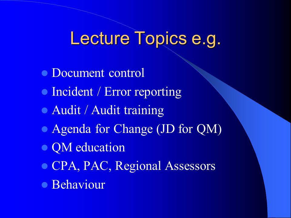 Lecture Topics e.g.