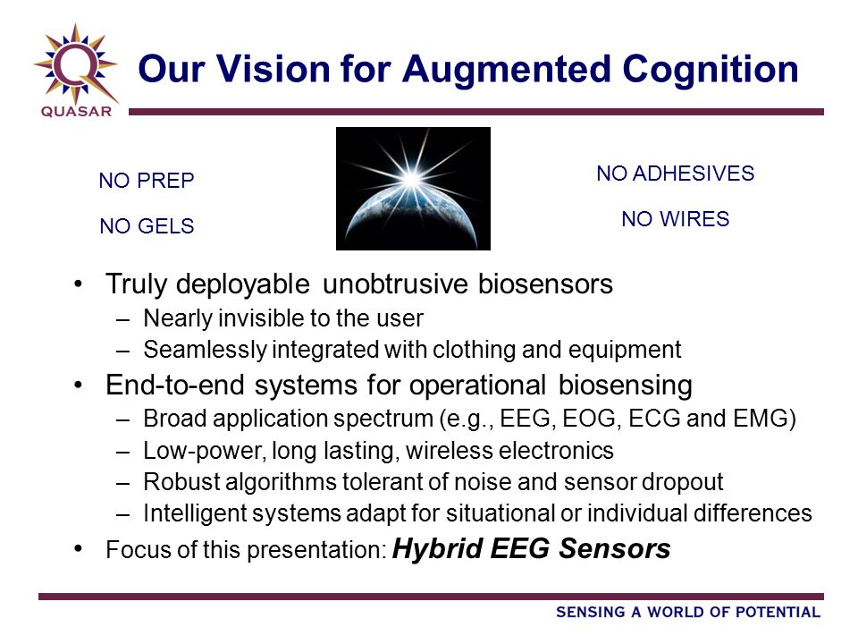 Our Vision for Augmented Cognition Truly deployable unobtrusive biosensors –Nearly invisible to the user –Seamlessly integrated with clothing and equi