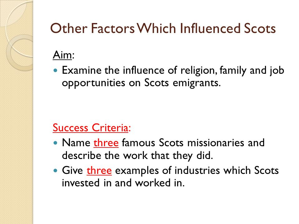 Other Factors Which Influenced Scots Aim: Examine the influence of religion, family and job opportunities on Scots emigrants. Success Criteria: Name t