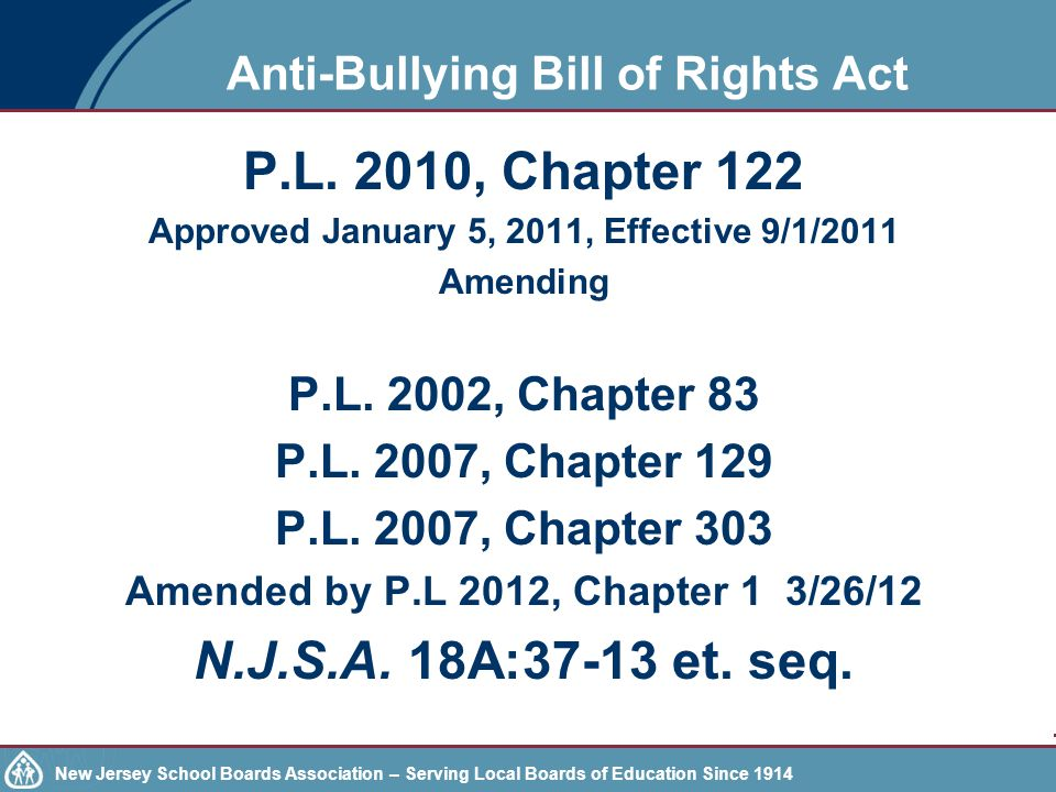 Anti-Bullying Bill of Rights Act P.L.