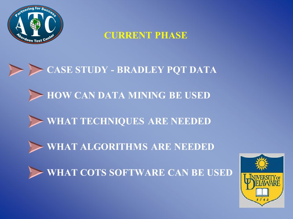 CASE STUDY - BRADLEY PQT DATA HOW CAN DATA MINING BE USED WHAT TECHNIQUES ARE NEEDED WHAT ALGORITHMS ARE NEEDED WHAT COTS SOFTWARE CAN BE USED CURRENT PHASE