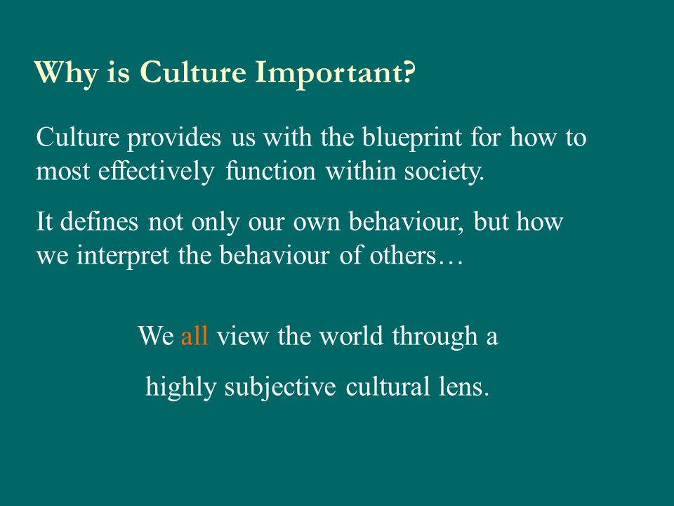 Why is Culture Important? Culture provides us with the blueprint for how to most effectively function within society. It defines not only our own beha