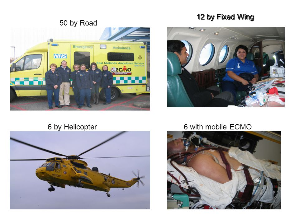 12 by Fixed Wing 6 by Helicopter 50 by Road 6 with mobile ECMO