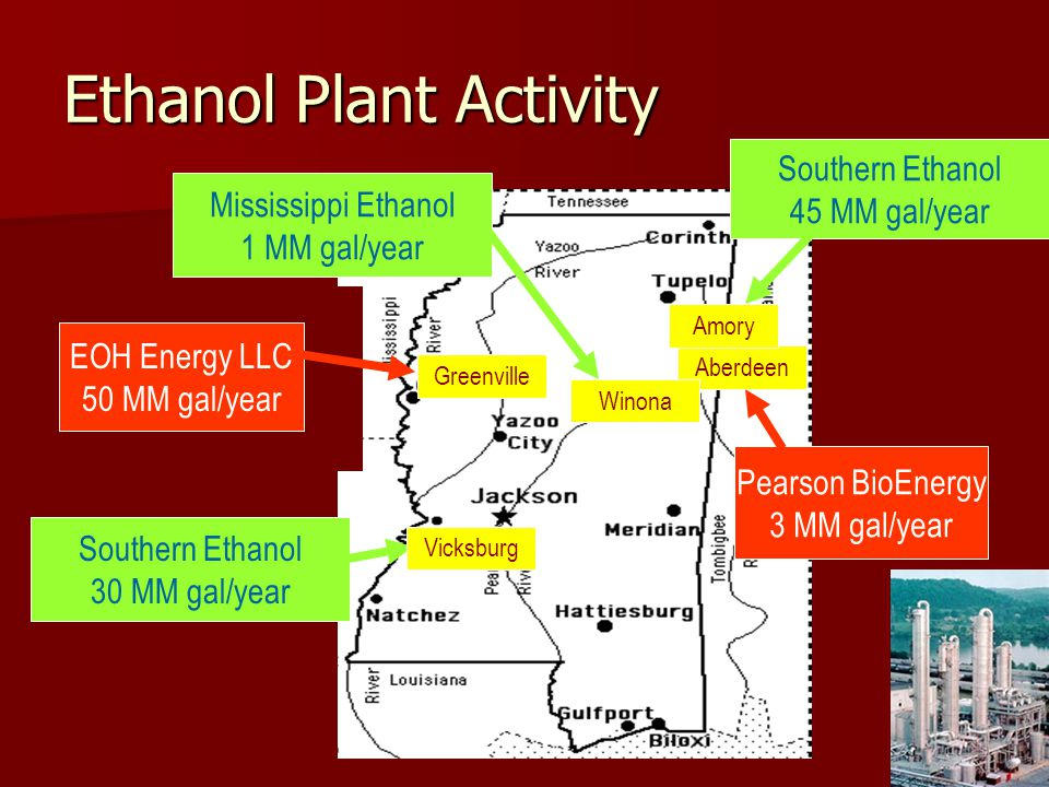 Ethanol Plant Activity Aberdeen Amory Greenville Southern Ethanol 30 MM gal/year EOH Energy LLC 50 MM gal/year Southern Ethanol 45 MM gal/year Pearson BioEnergy 3 MM gal/year Vicksburg Winona Mississippi Ethanol 1 MM gal/year