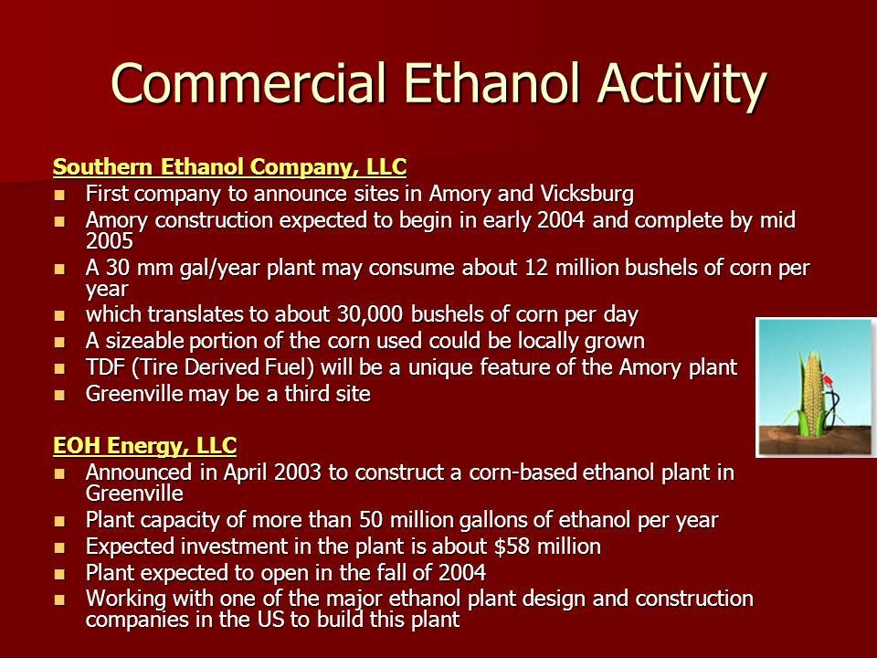 Commercial Ethanol Activity Southern Ethanol Company, LLC First company to announce sites in Amory and Vicksburg First company to announce sites in Amory and Vicksburg Amory construction expected to begin in early 2004 and complete by mid 2005 Amory construction expected to begin in early 2004 and complete by mid 2005 A 30 mm gal/year plant may consume about 12 million bushels of corn per year A 30 mm gal/year plant may consume about 12 million bushels of corn per year which translates to about 30,000 bushels of corn per day which translates to about 30,000 bushels of corn per day A sizeable portion of the corn used could be locally grown A sizeable portion of the corn used could be locally grown TDF (Tire Derived Fuel) will be a unique feature of the Amory plant TDF (Tire Derived Fuel) will be a unique feature of the Amory plant Greenville may be a third site Greenville may be a third site EOH Energy, LLC Announced in April 2003 to construct a corn-based ethanol plant in Greenville Announced in April 2003 to construct a corn-based ethanol plant in Greenville Plant capacity of more than 50 million gallons of ethanol per year Plant capacity of more than 50 million gallons of ethanol per year Expected investment in the plant is about $58 million Expected investment in the plant is about $58 million Plant expected to open in the fall of 2004 Plant expected to open in the fall of 2004 Working with one of the major ethanol plant design and construction companies in the US to build this plant Working with one of the major ethanol plant design and construction companies in the US to build this plant