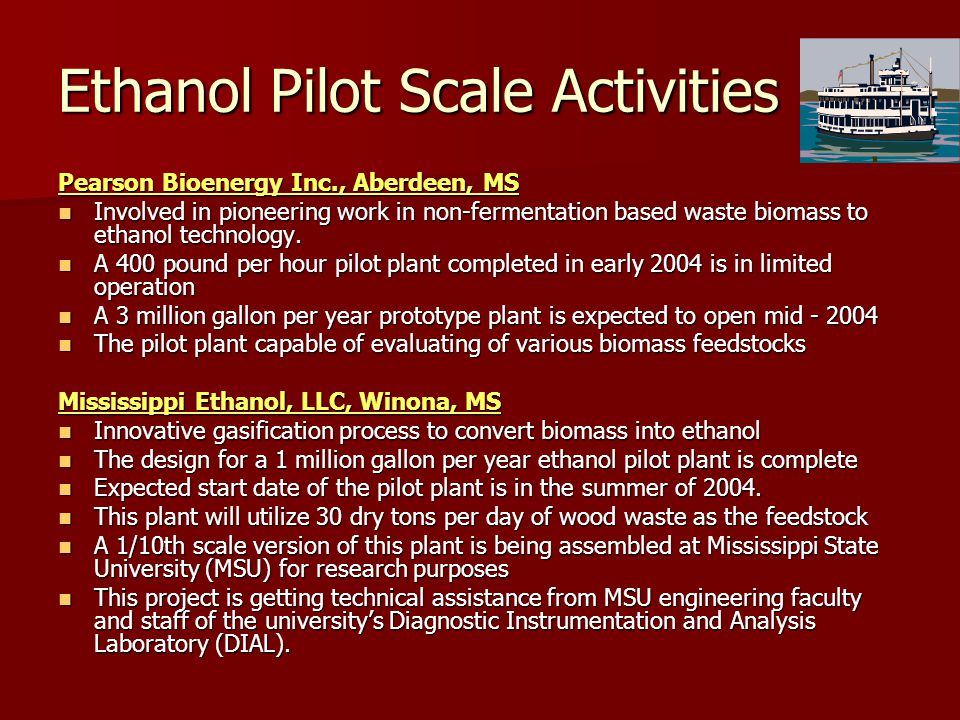 Ethanol Pilot Scale Activities Pearson Bioenergy Inc., Aberdeen, MS Involved in pioneering work in non-fermentation based waste biomass to ethanol technology.