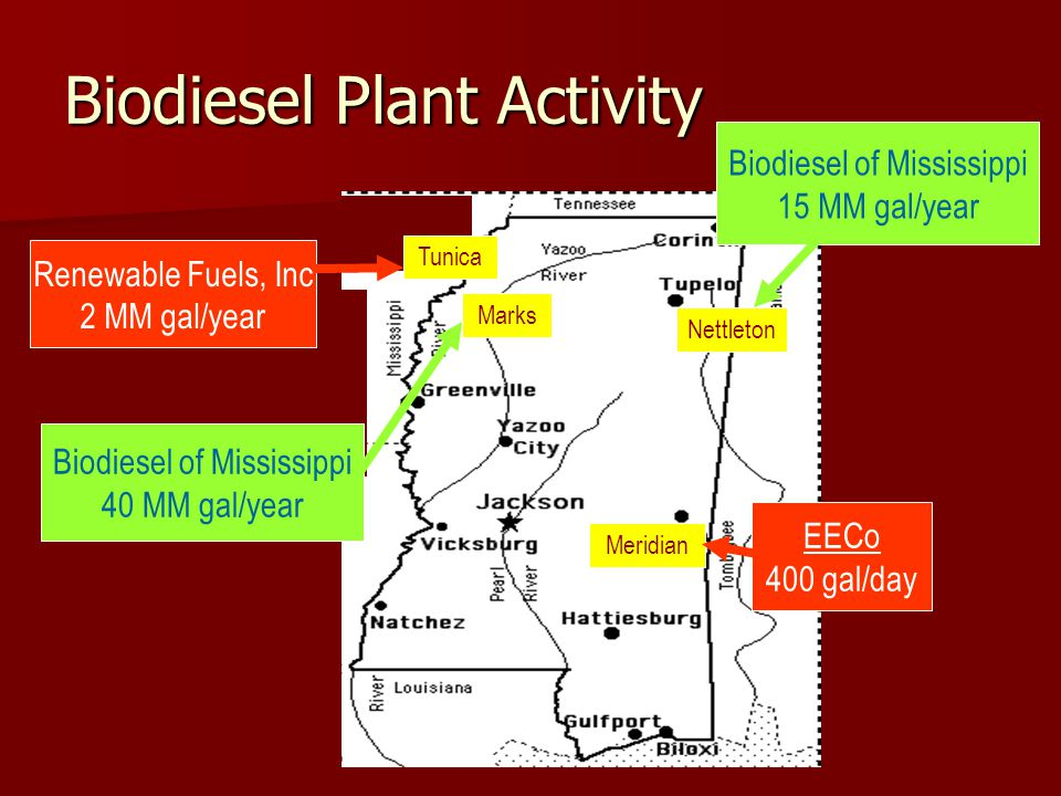 Biodiesel Plant Activity Meridian Nettleton Tunica Biodiesel of Mississippi 40 MM gal/year Renewable Fuels, Inc 2 MM gal/year Biodiesel of Mississippi 15 MM gal/year EECo 400 gal/day Marks