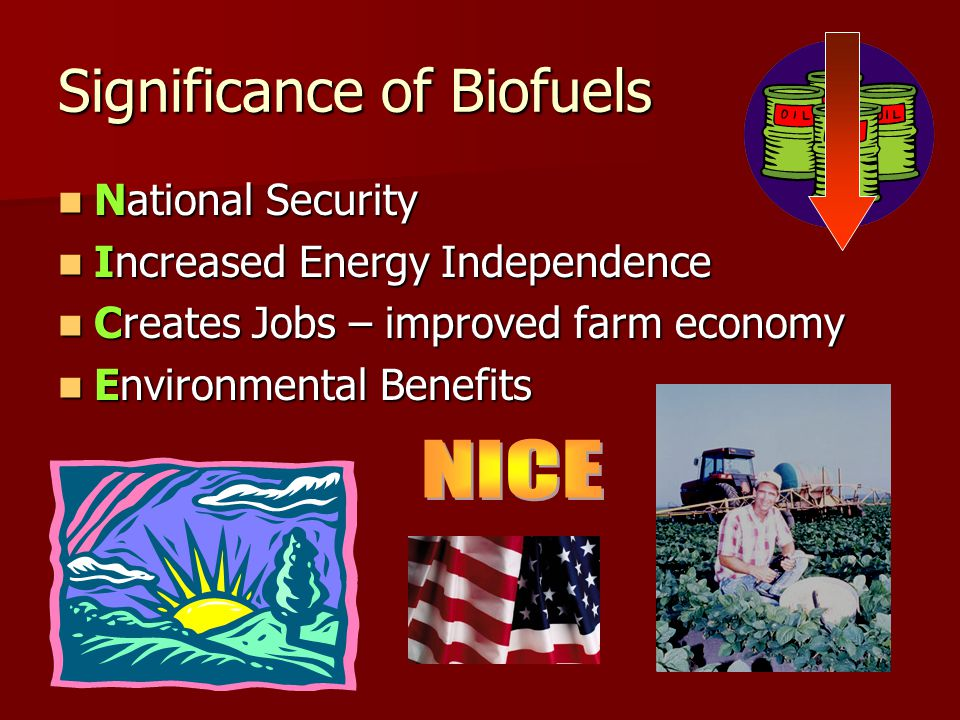Significance of Biofuels National Security National Security Increased Energy Independence Increased Energy Independence Creates Jobs – improved farm economy Creates Jobs – improved farm economy Environmental Benefits Environmental Benefits