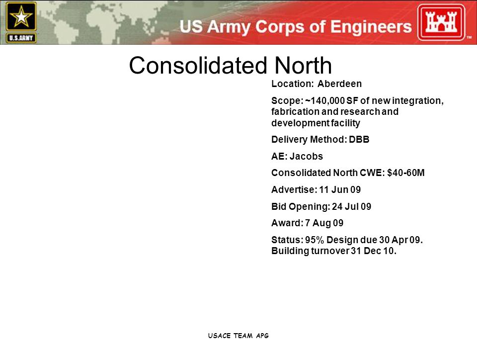USACE TEAM APG Location: Aberdeen Scope: ~140,000 SF of new integration, fabrication and research and development facility Delivery Method: DBB AE: Jacobs Consolidated North CWE: $40-60M Advertise: 11 Jun 09 Bid Opening: 24 Jul 09 Award: 7 Aug 09 Status: 95% Design due 30 Apr 09.