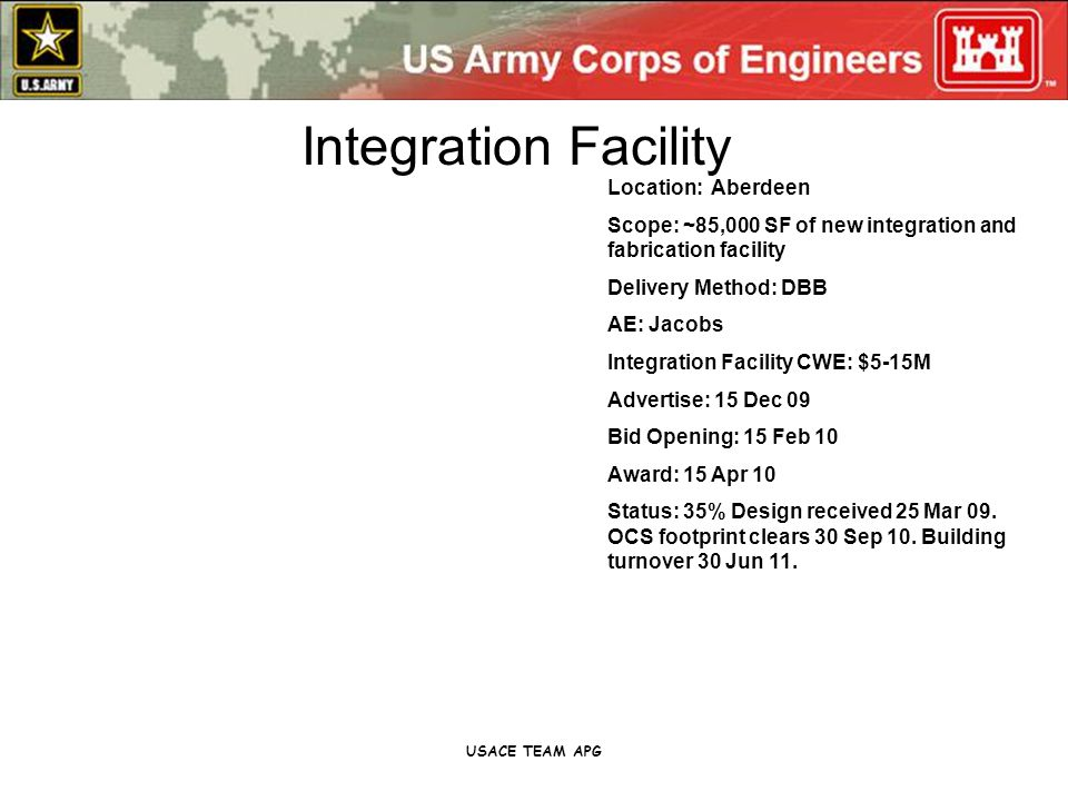 USACE TEAM APG Location: Aberdeen Scope: ~85,000 SF of new integration and fabrication facility Delivery Method: DBB AE: Jacobs Integration Facility CWE: $5-15M Advertise: 15 Dec 09 Bid Opening: 15 Feb 10 Award: 15 Apr 10 Status: 35% Design received 25 Mar 09.