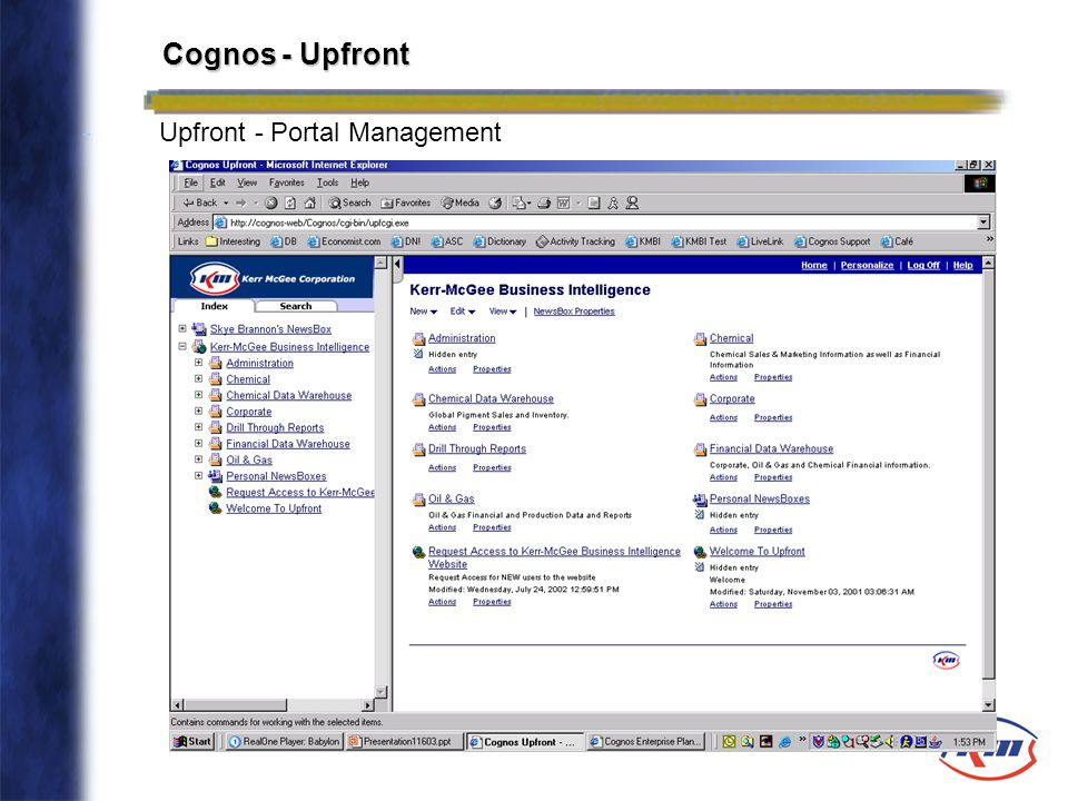 Cognos - Upfront - Upfront - Portal Management