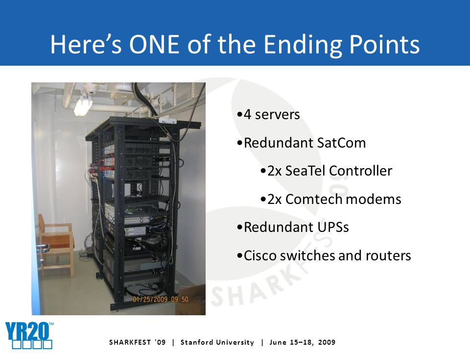 SHARKFEST 09 | Stanford University | June 15–18, 2009 Here's ONE of the Ending Points 4 servers Redundant SatCom 2x SeaTel Controller 2x Comtech modems Redundant UPSs Cisco switches and routers