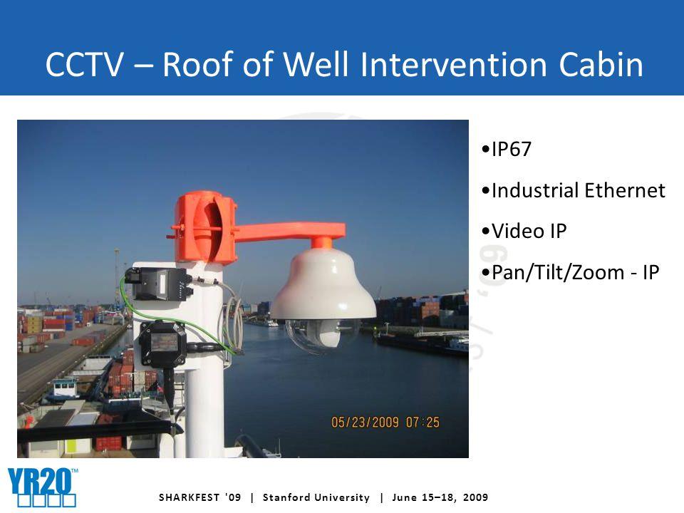 SHARKFEST 09 | Stanford University | June 15–18, 2009 CCTV – Roof of Well Intervention Cabin IP67 Industrial Ethernet Video IP Pan/Tilt/Zoom - IP
