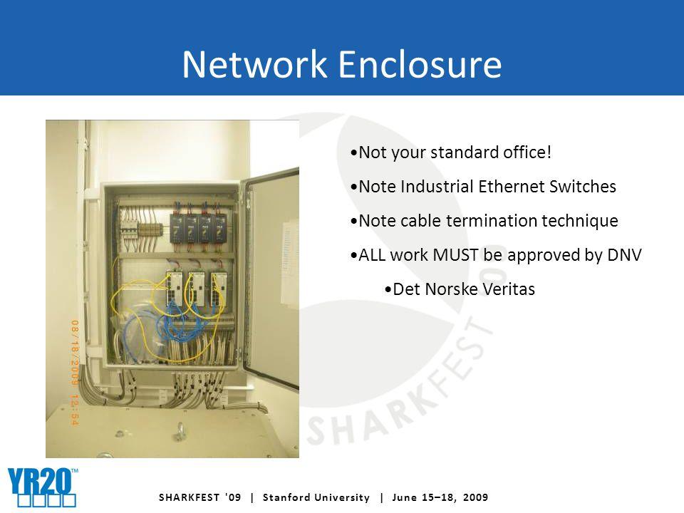SHARKFEST 09 | Stanford University | June 15–18, 2009 Network Enclosure Not your standard office.