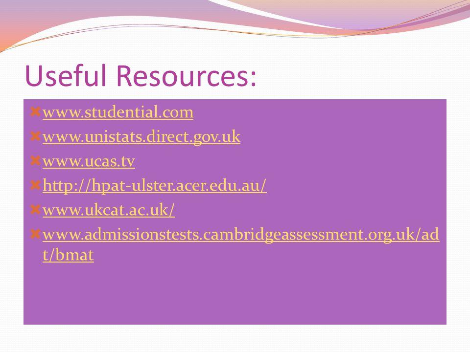 Useful Resources:  www.studential.com www.studential.com  www.unistats.direct.gov.uk www.unistats.direct.gov.uk  www.ucas.tv www.ucas.tv  http://h