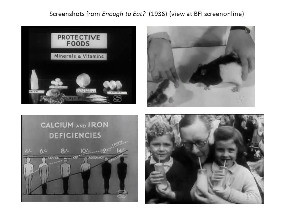 Screenshots from Enough to Eat (1936) (view at BFI screenonline)