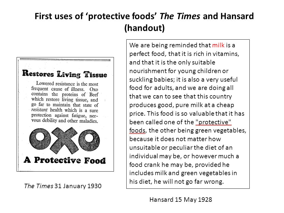 First uses of 'protective foods' The Times and Hansard (handout) We are being reminded that milk is a perfect food, that it is rich in vitamins, and that it is the only suitable nourishment for young children or suckling babies; it is also a very useful food for adults, and we are doing all that we can to see that this country produces good, pure milk at a cheap price.