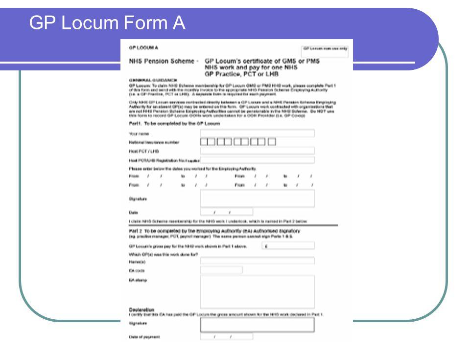 GP Locum Form A