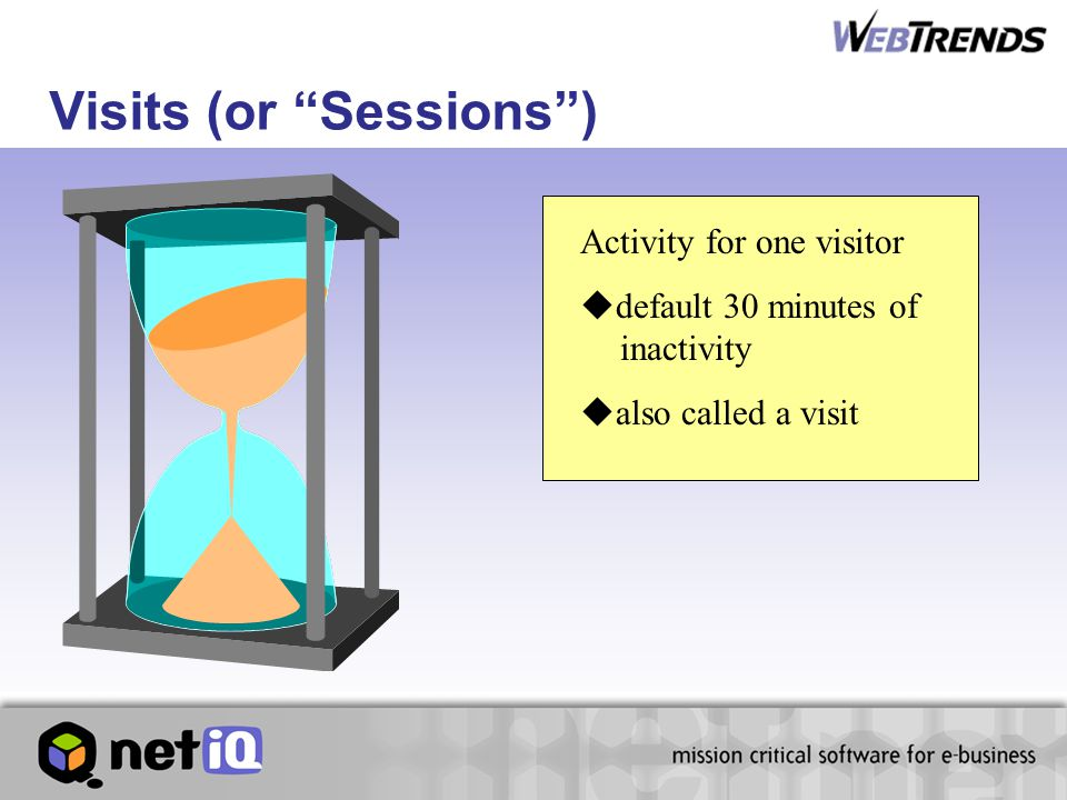 Activity for one visitor  default 30 minutes of inactivity  also called a visit Visits (or Sessions )
