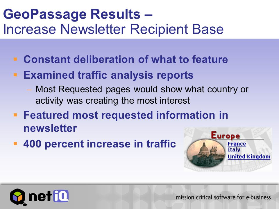GeoPassage Results – Increase Newsletter Recipient Base  Constant deliberation of what to feature  Examined traffic analysis reports  Most Requeste