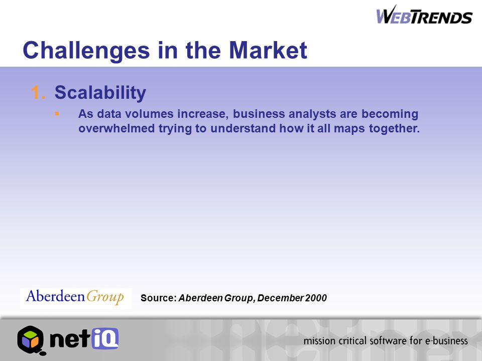 Challenges in the Market 1.Scalability  As data volumes increase, business analysts are becoming overwhelmed trying to understand how it all maps together.
