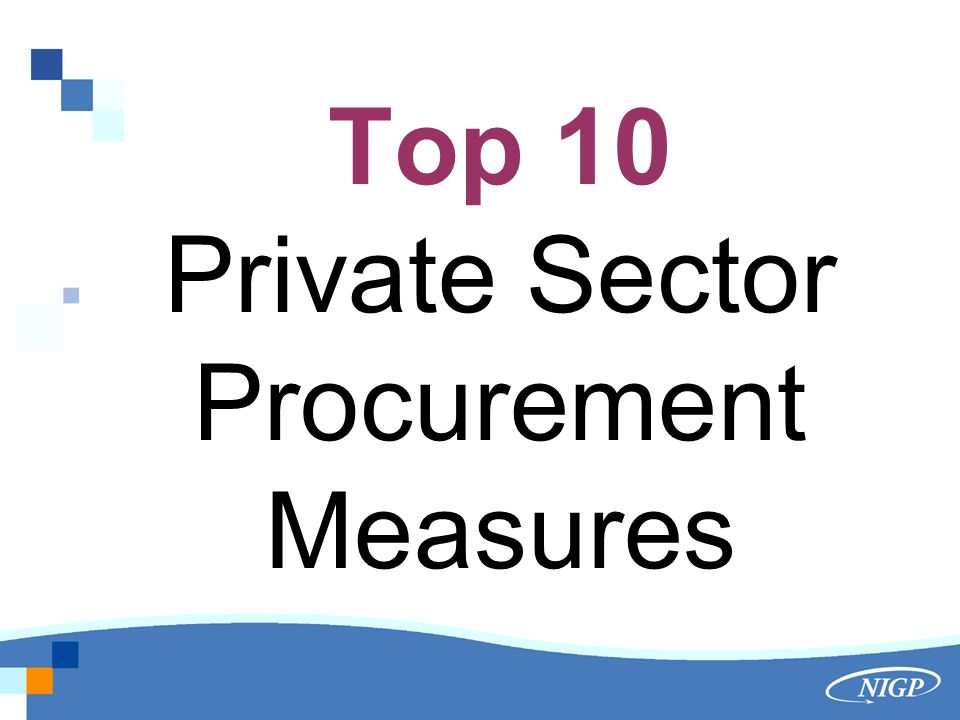 Top 10 Private Sector Procurement Measures