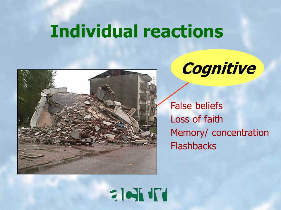 Individual reactions Cognitive False beliefs Loss of faith Memory/ concentration Flashbacks