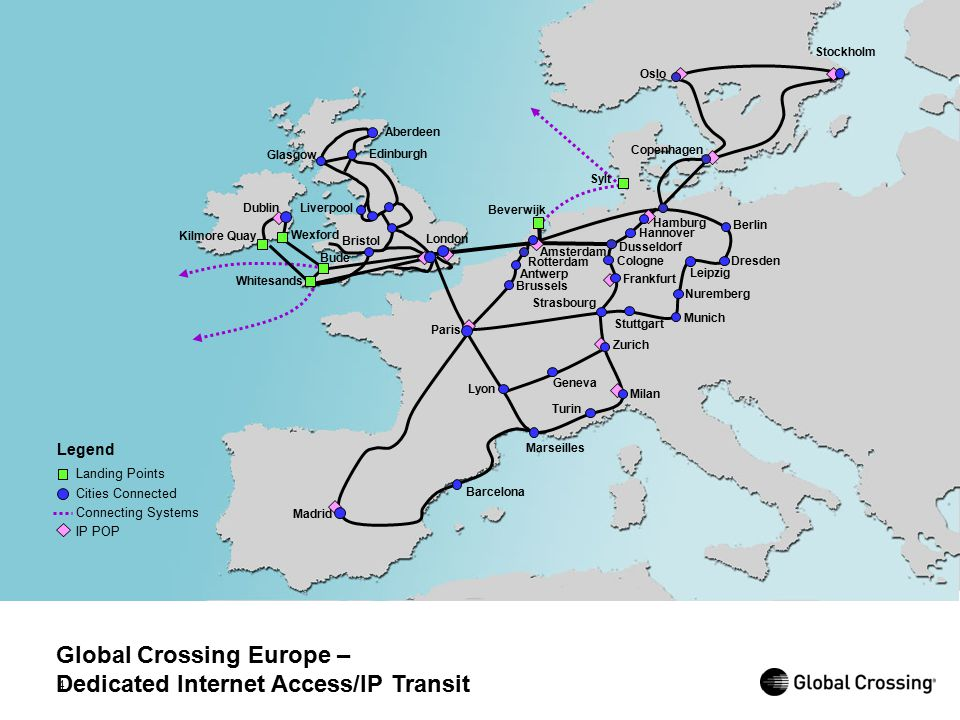 4 Global Crossing Europe – Dedicated Internet Access/IP Transit Legend Landing Points Cities Connected Connecting Systems IP POP Marseilles Turin Mila