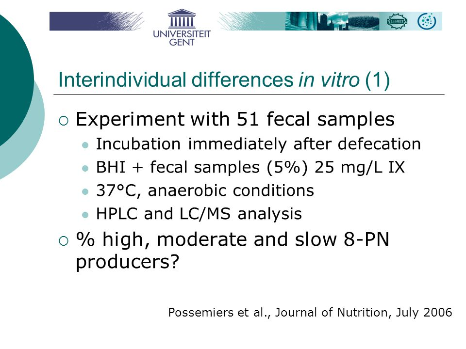 Interindividual differences in vitro (1)  Experiment with 51 fecal samples Incubation immediately after defecation BHI + fecal samples (5%) 25 mg/L IX 37°C, anaerobic conditions HPLC and LC/MS analysis  % high, moderate and slow 8-PN producers.