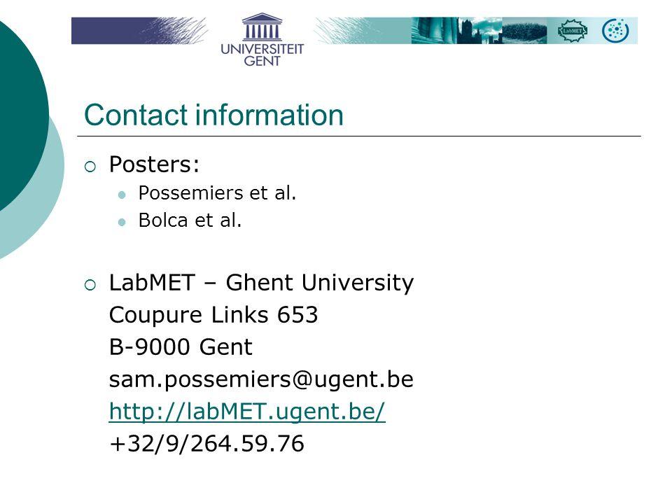 Contact information  Posters: Possemiers et al. Bolca et al.