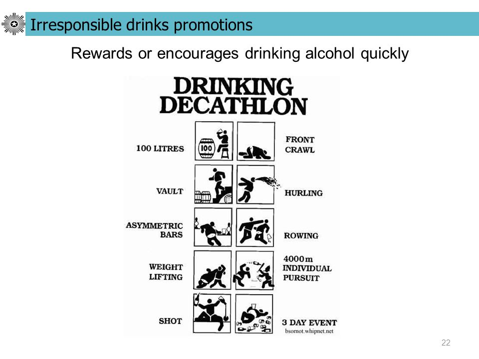 22 Rewards or encourages drinking alcohol quickly Irresponsible drinks promotions
